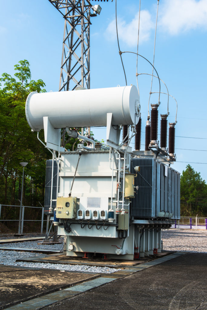 This image shows a substation transformer with a remote terminal unit (RTU), which monitors sensors and transmits data on the SCADA network.