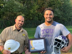The South Central Power Lineman of the Game from last Friday's PIckerington High School Central at Lancaster High School football game was Pickerington Central's Karter Johnson. He's pictured here being presented the award from South Central Power Lineman Gary Hughes.