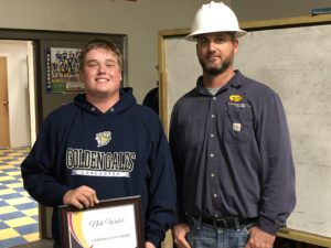 Congrats to Nate Weber from Lancaster High School who was named South Central Power Lineman of the Week on Oct. 12! He's presented his award by John Lawhead, a South Central Power line worker.