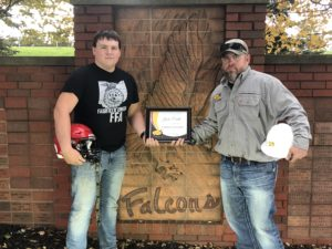 Congrats to Justin Cordle from Fairfield Union High School who was named South Central Power Lineman of the Week on Oct. 26! He's presented his award by Matt McClaskey, a South Central Power line worker.