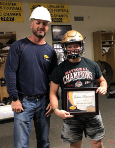Congrats to Jackson Rienschield from Lancaster High School who was named South Central Power Lineman of the Week last Friday! He's presented his award by John Lawhead, a South Central Power line worker in Lancaster.