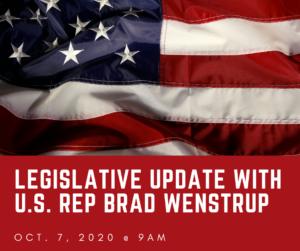 Legislative Update with U.S. Rep Brad Wenstrup; Oct. 7, 2020 @ 9am