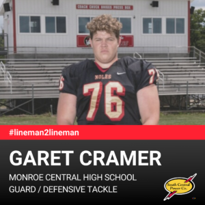 Garet Cramer, Monroe Central High School, guard / defensive tackle, #lineman2lineman