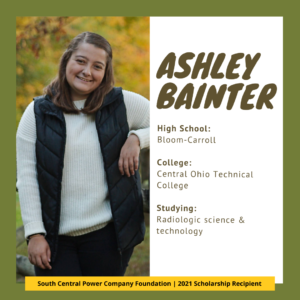 Ashley Bainter, High school: Bloom-Carroll, College: Central Ohio Technical College, Studying: radiologic science & technology