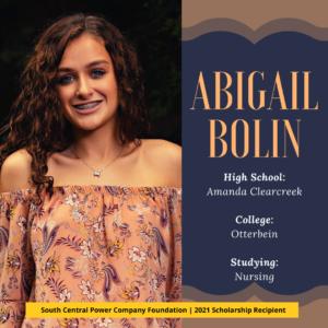 Abigail Bolin: High School: Amanda Clearcreek College: Otterbein Studying: Nursing