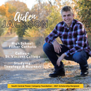 Aiden Jackson: High School: Fisher Catholic College: St. Vincent College Studying: Theology & Business