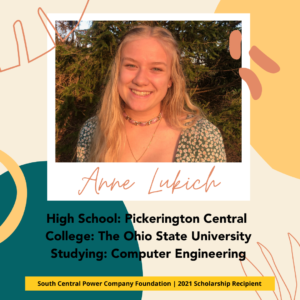 Anne Lukich: High School: Pickerington Central College: The Ohio State University Studying: Computer Engineering