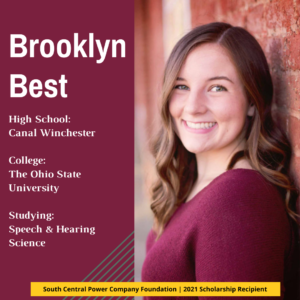 Brooklyn Best: High School: Canal Winchester College: The Ohio State University Studying: Speech & Hearing Science