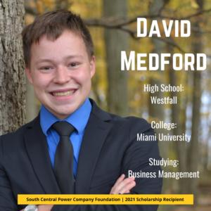 David Medford: High School: Westfall College: Miami University Studying: Business Management