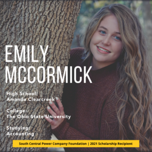 Emily McCormick: High School: Amanda Clearcreek College: The Ohio State University Studying: Accounting
