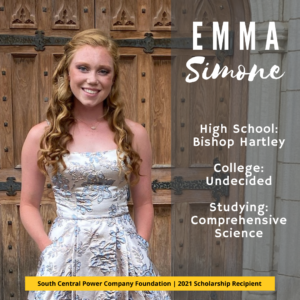Emma Simone: High School: Bishop Hartley College: Undecided Studying: Comprehensive Science