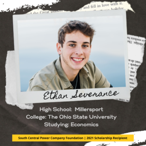 Ethan Severance: High School: Millersport College: The Ohio State University Studying: Economics