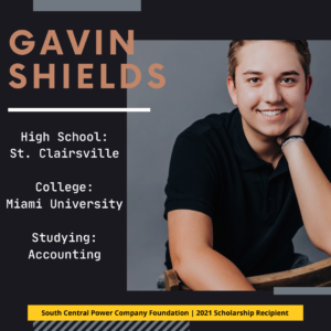 Gavin Shields: High School: St. Clairsville College: Miami University Studying: Accounting