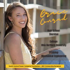 Grace Conrad: High School: Sheridan College: Ohio Northern University Studying: Mechanical Engineering