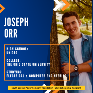 Joseph Orr: High School: Unioto College: The Ohio state university Studying: Electrical & computer engineering