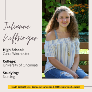 Julianne Noffsinger: High School: Canal Winchester College: University of Cincinnati Studying: Nursing