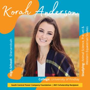 Korah Anderson: High School: Shenadoah, College: University of Findlay, Studying: Animal Science: Pre-vet & Western Equestrian Studies