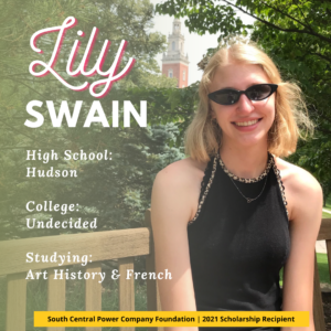 Lily Swain: High School: Hudson College: Undecided Studying: Art History & French