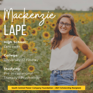 Mackenzie Lape: High School: Lancaster College: University of Findlay Studying: Pre-occupational Therapy / Psychology