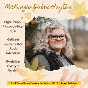 McKenzie Doles-Payton, High School: Pickaway-Ross CTC, College: Pickaway-Ross Adult Education, Studying: Practical Nursing
