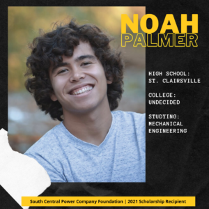 Noah Palmer: High School: St. Clairsville College: Undecided Studying: Mechanical Engineering