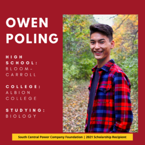 Owen Poling: High SchooL: Bloom-Carroll College: Albion College Studying: Biology