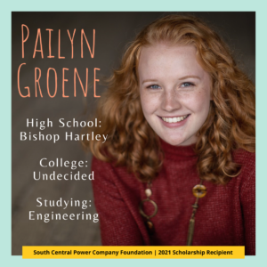Pailyn Groene: High School: Bishop Hartley College: Undecided Studying: Engineering