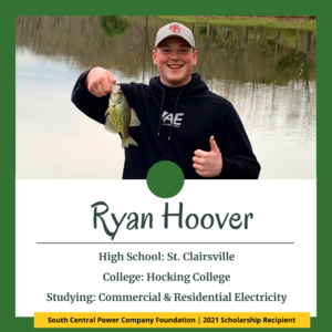 Ryan Hoover: High School: St. Clairsville College: Hocking College Studying: Commercial & Residential Electricity