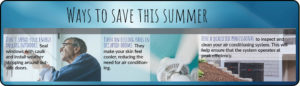 Was to save this summer: Don't spend your energy dollars outdoors. Seal windows with caulk and install weather stripping around outside doors. Turn on ceiling fans in occupied rooms. They make your skin feel cooler, reducing the need for air conditioning. Hire a qualified professional to inspect and clean your air conditioning system. This will help ensure that the system operates at peak efficiency.