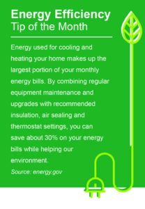 Energy used for cooling and heating your home makes up the largest portion of your monthly energy bills. By combining regular equipment maintenance and upgrades with recommended insulation, air sealing and thermostat settings, you can save about 30% on your energy bills while helping our environment. Source: energy.gov
